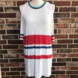 POL WHITE COLD SHOULDER STRIPED T SHIRT TEE TUNIC